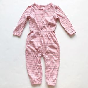 Baby Gap pink/gray stripe jumper play 18-24 months